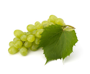 Ripe grape with leaf