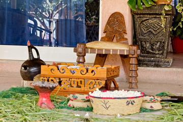 Traditional Ethiopian Coffee setup