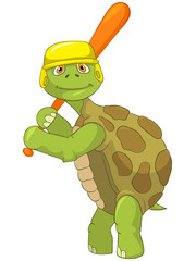 Funny Turtle. Baseball Player.