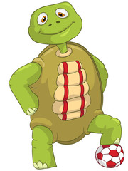 Funny Turtle. Soccer Player.