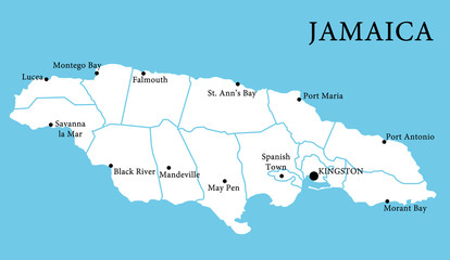 Map of Jamaica with cities