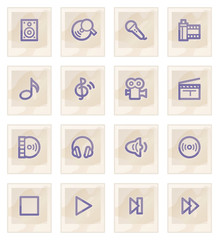 Audio video web icons on paper.