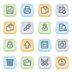 Document web icons on color buttons, set 1.