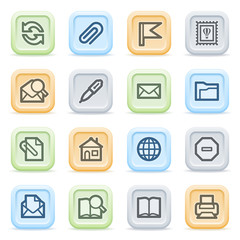 E-mail web icons on color buttons.
