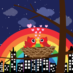 Birds in love with rainbow at night