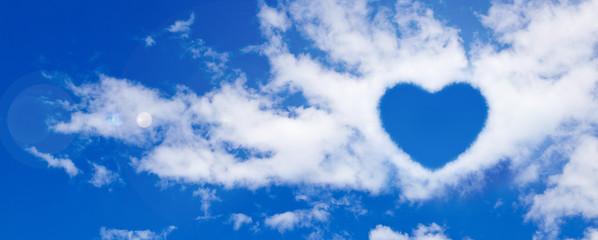 blu sky with heart