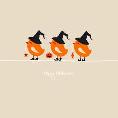 3 Cute Halloween Bird Holding Pumpkin/Star/Candy