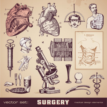 vector set: surgery - medical design elements