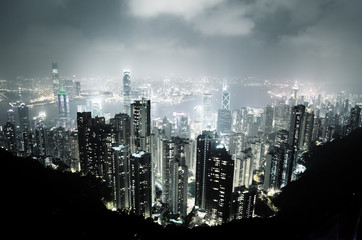 Fototapete - Hong Kong island from Victoria's Peak at night