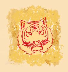 Abstracted grunge Tiger illustration