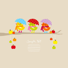 3 Birds Umbrella & Scarf On Tree With Apples