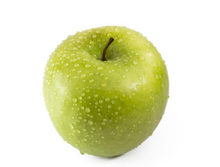 green apple with drops of dew