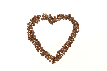 Isolated heart made of coffee beans