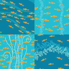 Four patterns with stylized fishes in water