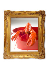 Lobster in a picture frame.