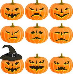 Set pumpkins for Halloween. EPS10