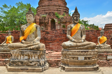 Ancient buddha statues at Wat Yai Chaimongkol, Thailand