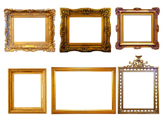 few  gilded frames. Isolated over white background