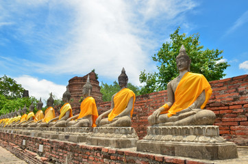 Ancient buddha statues at Wat Yai Chaimongkol, Thailand