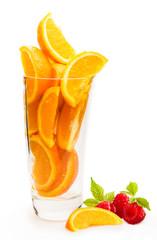Jus d'orange et framboise