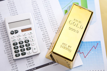 Gold and money, financial concept