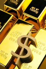 Photo of gold bars, studio shots, closeup