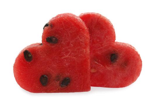 Watermelon two slices cut as heart shape