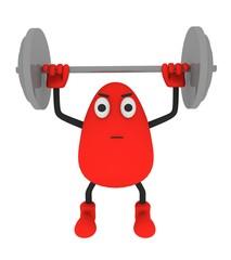 Gewichtheben 3d Comic-Figur