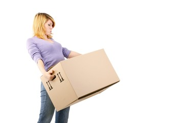 young woman with moving box (white background)