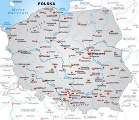 Umgebungskarte von Polen in grau