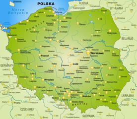 Umgebungskarte von Polen mit Hauptstädten