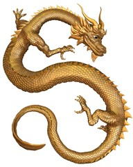Lucky Chinese Dragon with gold metal scales