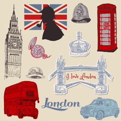 Foto auf Gartenposter Doodle Set of London doodles - for design and scrapbook - hand drawn in