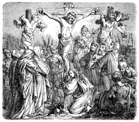 Shows the crucifixion of Christ