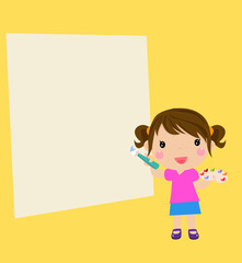 Little artist - cute girl painting