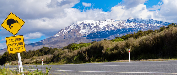 Wall Murals New Zealand Kiwi Crossing road sign and volcano Ruapehu, NZ