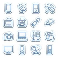 Blue web stickers with icons 5