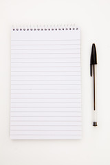 Notepad  with black pen sheet