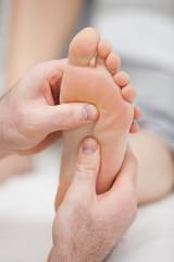 Reflexology massage being made