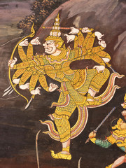Mural painting in Thai royal temple