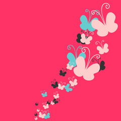 Pink background decorated with butterflies