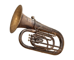 Antique Tuba isolated with a clipping path
