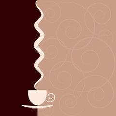 Background with a cup and steam