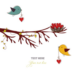 Card with birds and hearts,love card