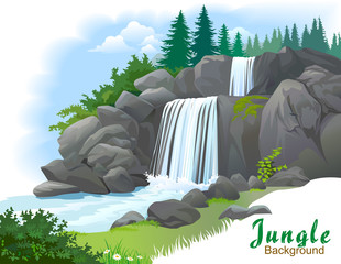 Background of waterfall in a jungle