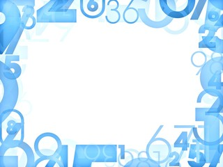 Blue numbers frames isolated on white
