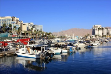 Parking yachts in Eilat, Israel