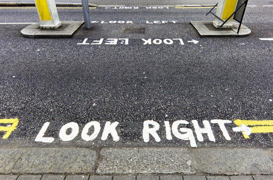 Look right warning