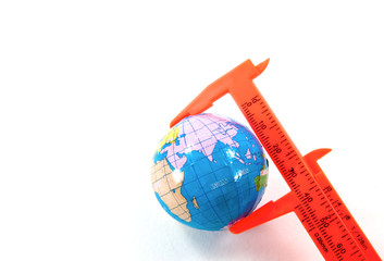 Globe inside vernier calipers