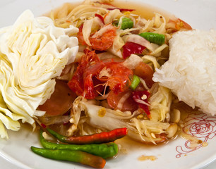 Som Tum is a spicy papaya salad , a delicious Thai food.